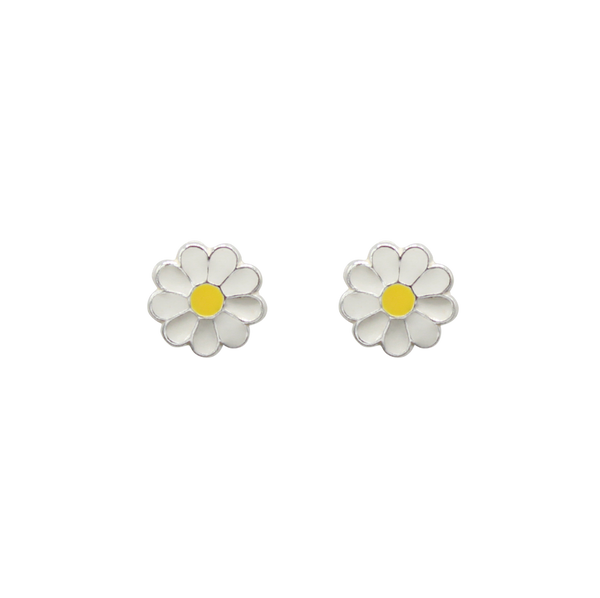 Daisy pin pair of earrings silver