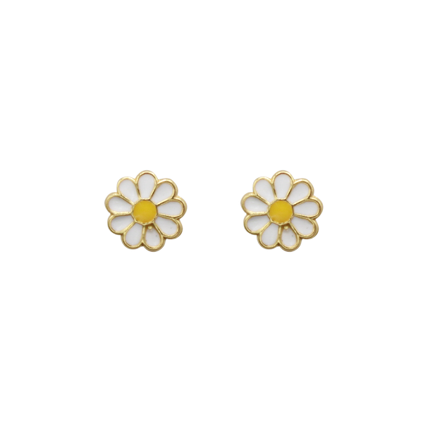 Daisy pin pair of earrings white