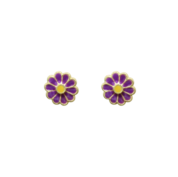 Daisy pin pair of earrings purple