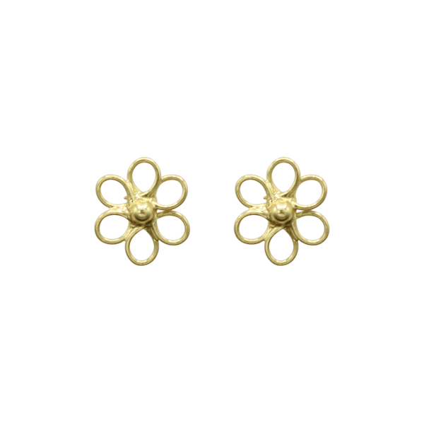 Flower pin pair of earrings medium