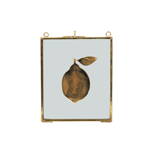 Glass frame with brass lemon