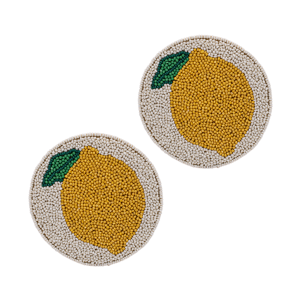 Glass coaster beads lemon round (set/2)