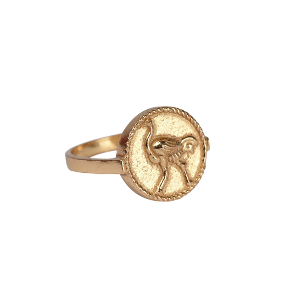 Signet ring ostrich small coin