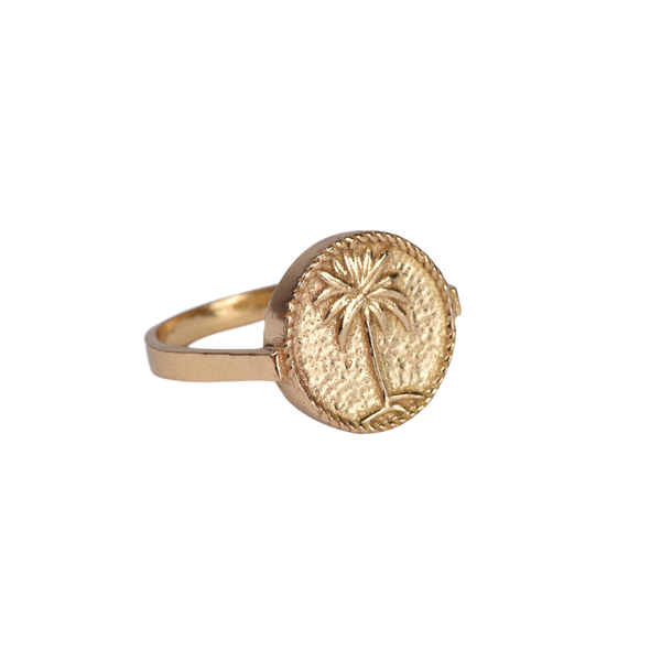 Signet ring palmtree small coin