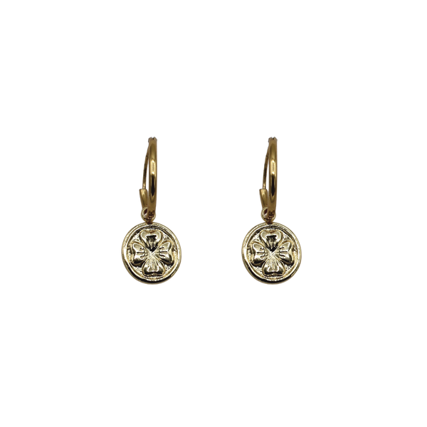 Clover coin pair of earrings