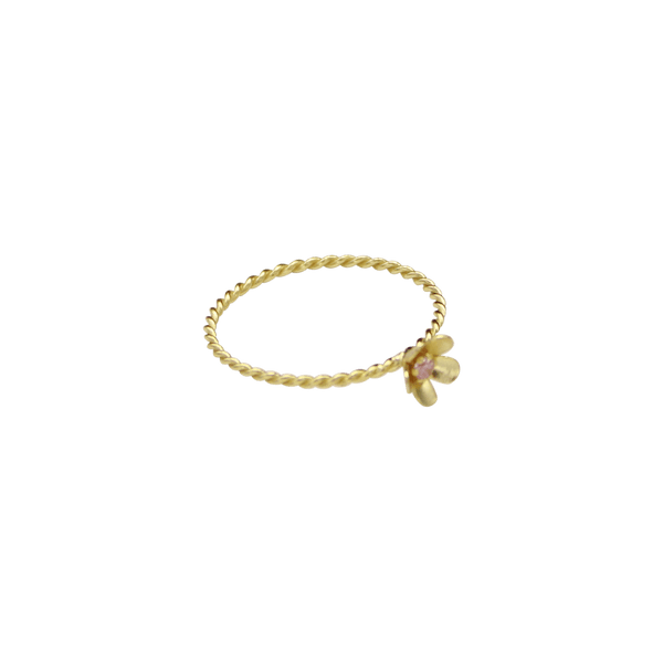 Flower twisted ring zirconia pink