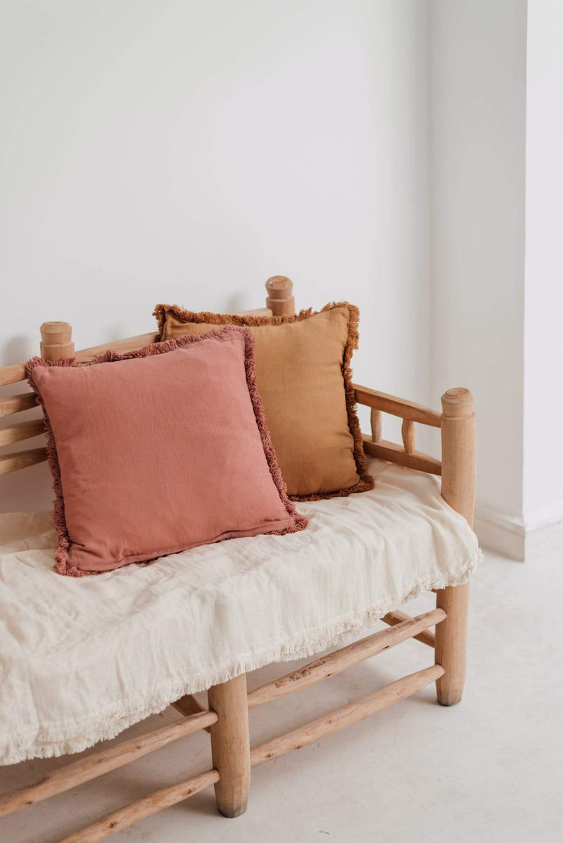Cushion cover with fringes mustard