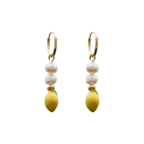 Hanging lemon with freshwater pearls pair of earrings