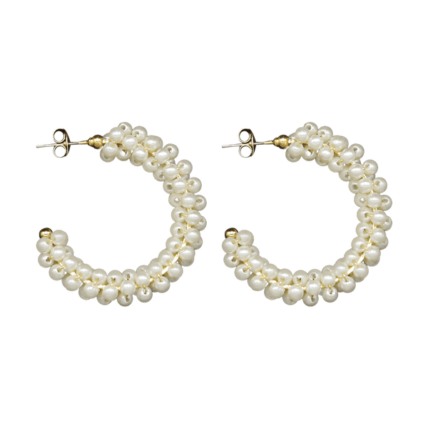 Big freshwater pearls half moon pair of earrings