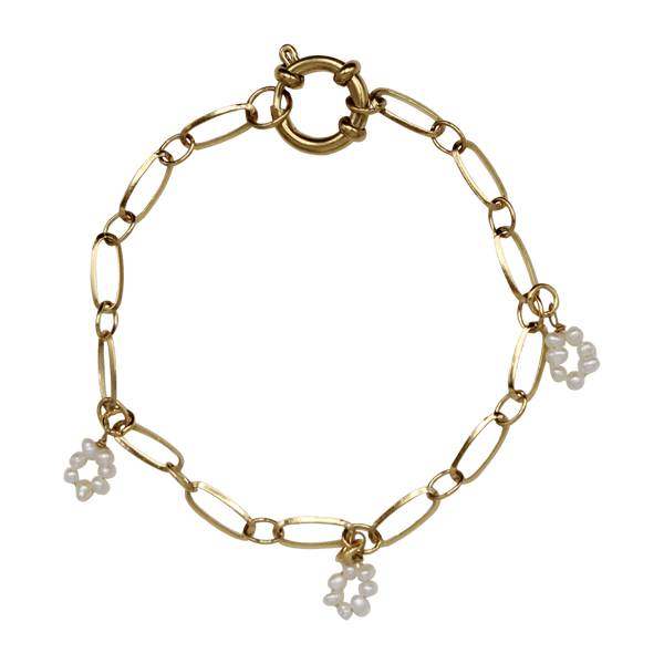 Thin chain bracelet with flower freshwater pearls