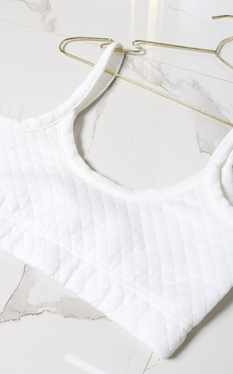 Crop top blanco tela acolchada
