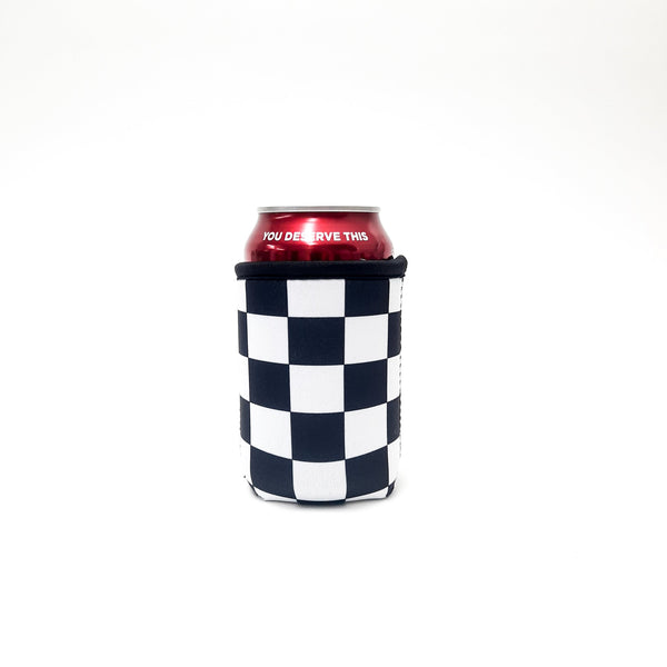 Checkerboard 12oz Stubby Can Cooler