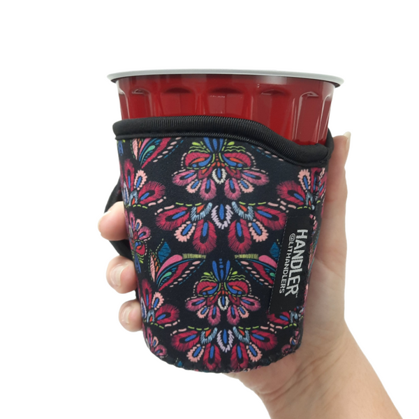 Pink Embroidery 12oz Wine Tumbler Handler™
