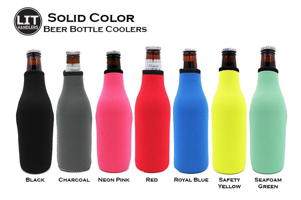 Solid Colors Bottle Neck Coolers Zip Top 5 colors