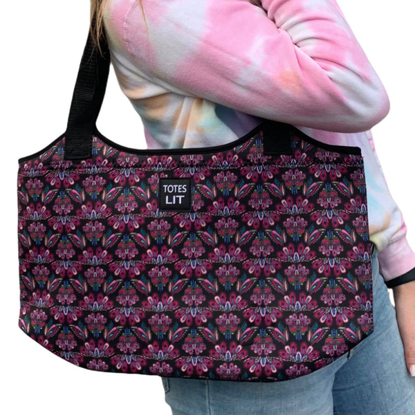 Pink Embroidery Neoprene Tote