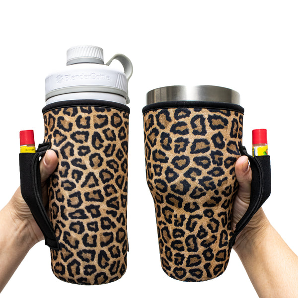 Leopard with Black 30OZ Tumbler Handlers