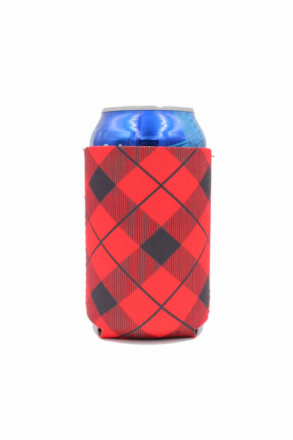 Red Plaid 12oz Stubby Can Cooler