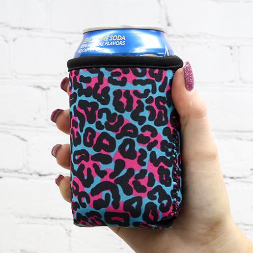 Blue Leopard 12oz Stubby Can Cooler
