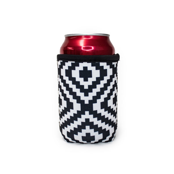 Black & White Aztec 12oz Stubby Can Cooler
