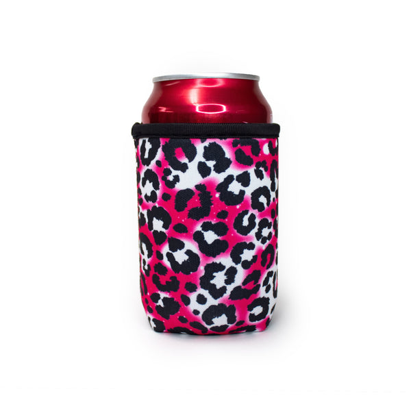 Hot Pink Leopard 12oz Stubby Can Cooler