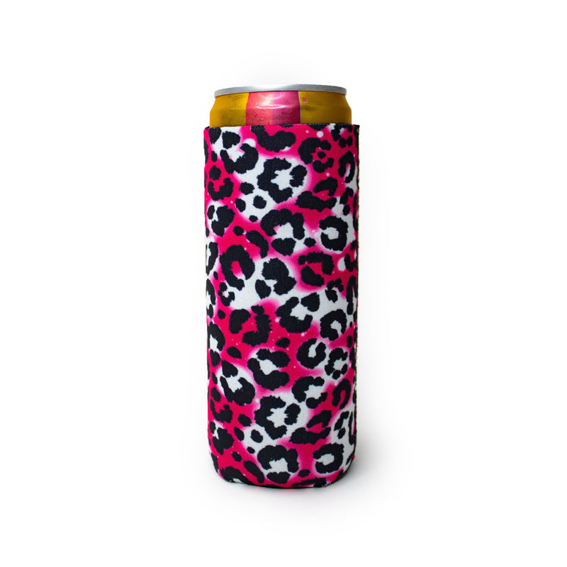 Hot Pink Leopard 12oz Slim Can Cooler
