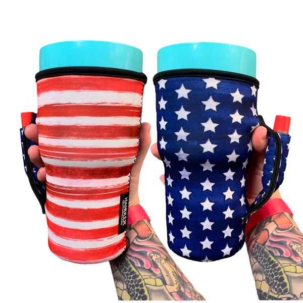 Merica 30oz Tumbler Handler™ w/ Pocket fits Blender Bottles & YETI®