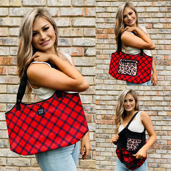 Red Plaid W/ Leopard Pocket Neoprene Tote