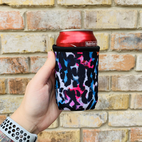 Watercolor Leopard 12oz Stubby Can Cooler