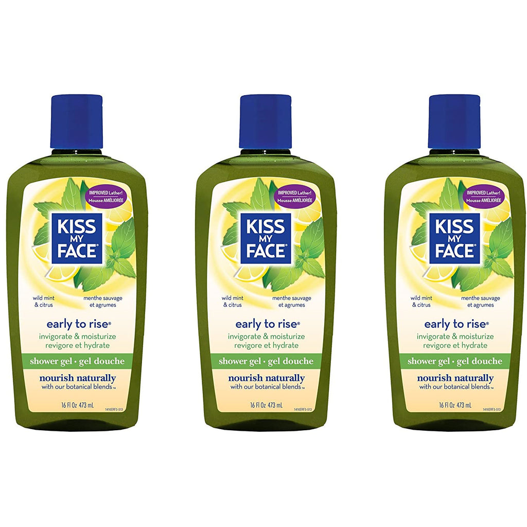 Kiss My Face Early-to-Rise Moisturizing Shower Gel, Bath and Body Wash, 16 oz Lot of 500 sets of 3