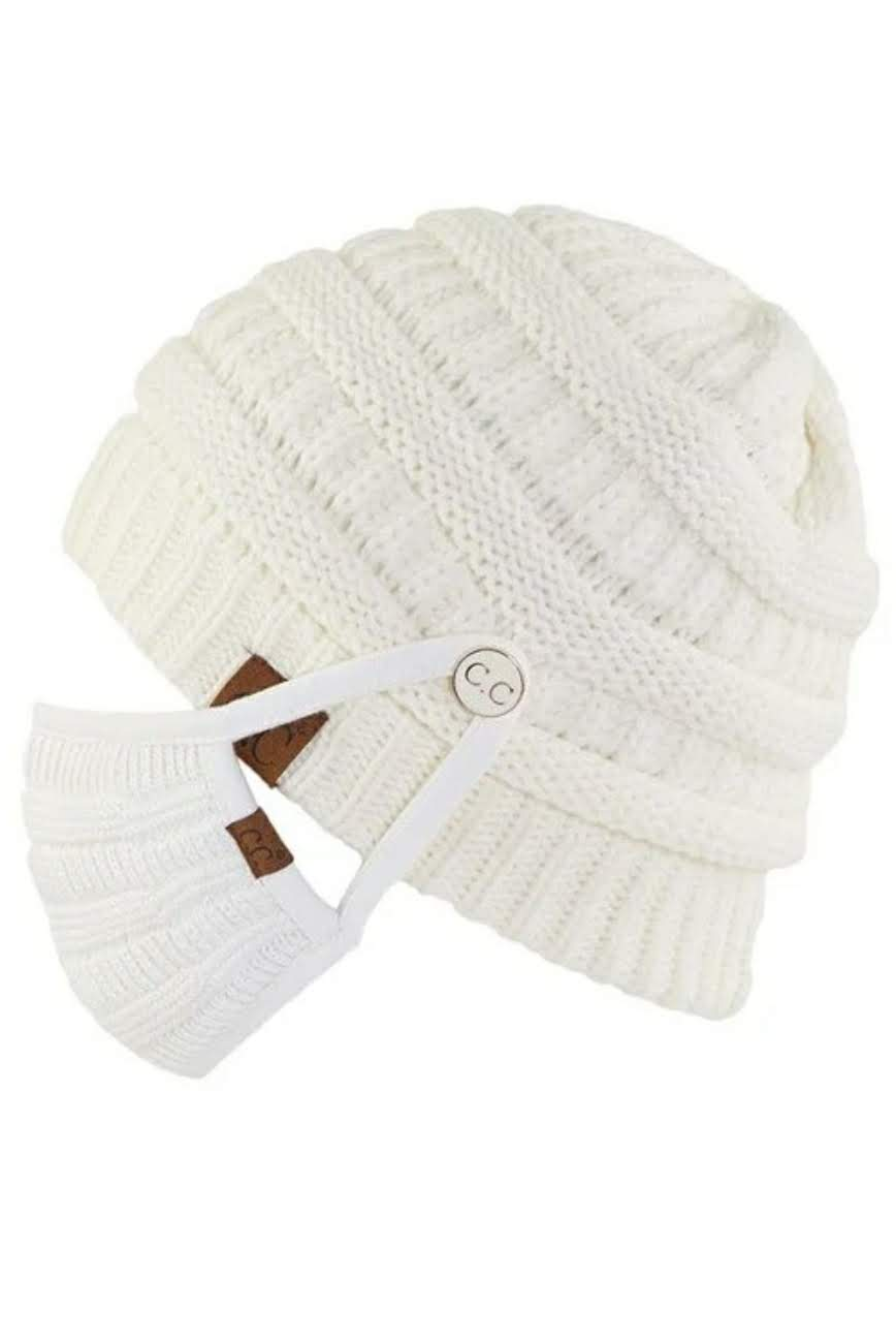 C.C Beanies With Buttons for Mask