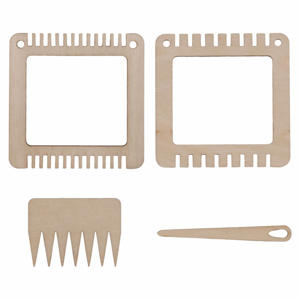 Weaving Set: Two Small Frames, Comb and Needle