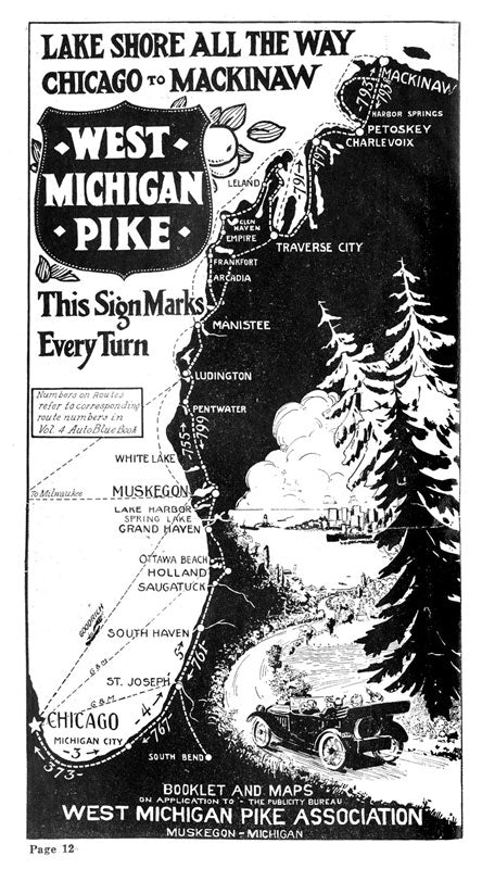 An original map of the West Michigan Pike.