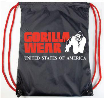 GORILLA WEAR DRAWSTRING BAG SCHWARZ/ROT