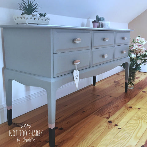 Little Lamb painted stag console table with marble handles and Ash tipped legs