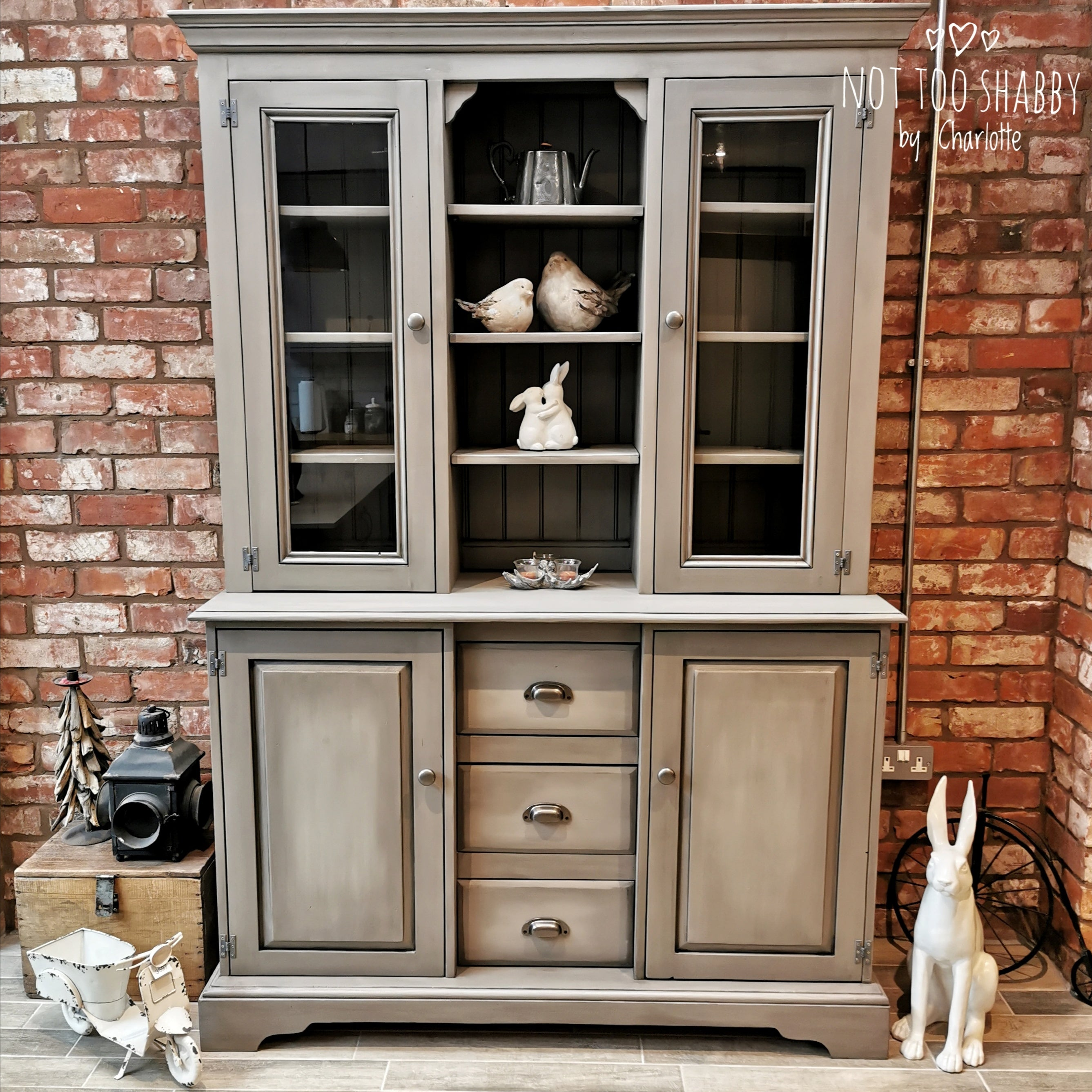 Industrial farmhouse Taupe blended painted dresser