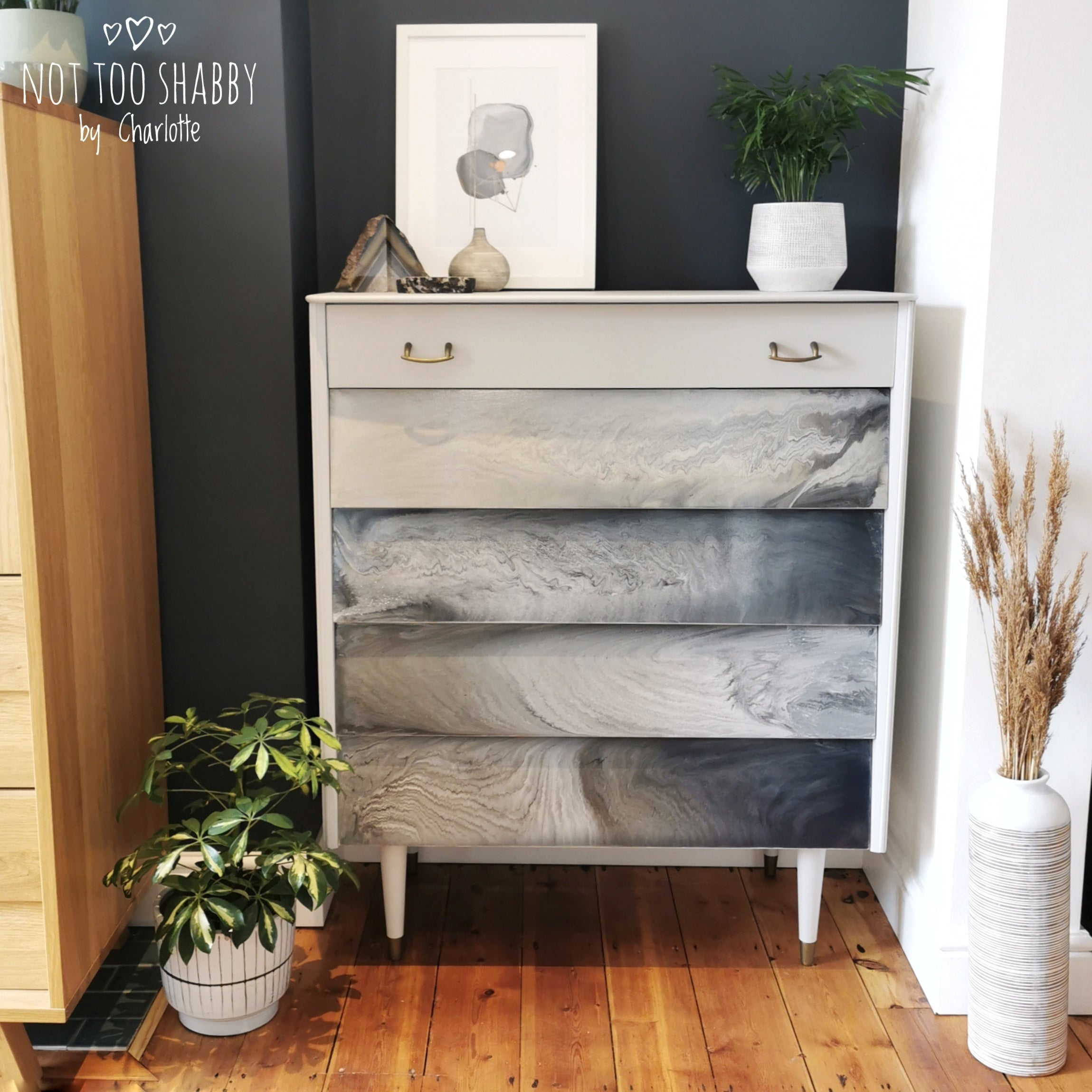 Grey marble effect paint pour on drawer fronts