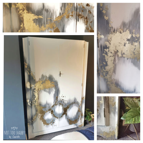 Little lamb painted wardrobe with circular gold leaf