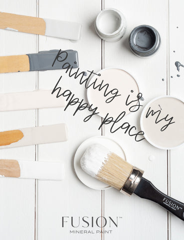Painting is my happy place mixing sticks and paint lids flatlay