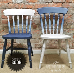 Midnight blue and Cathedral Taupe ombre pine chairs