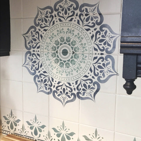 Navy and mint ombre mandala stencil on tiles