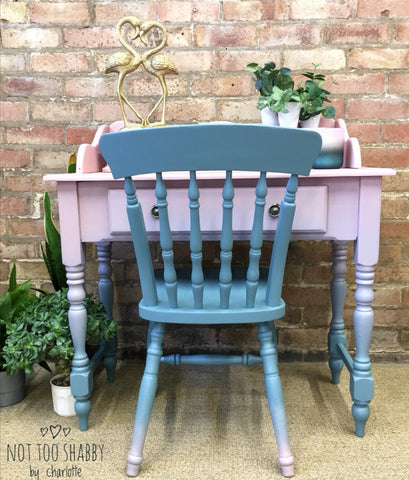 Pink and blue ombre painted pine desk and chair