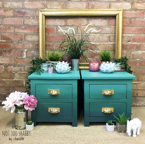 Green ombre bedside tables with gold cup handles