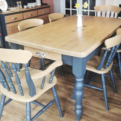 Ash and French Oak dining table and chairs with chrome handles