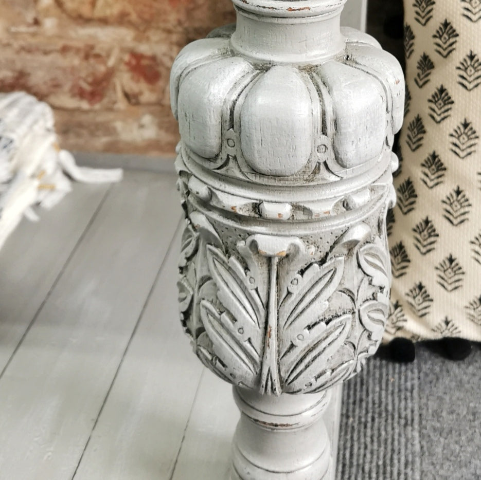 Grey Glazed and distressed carved furniture legs
