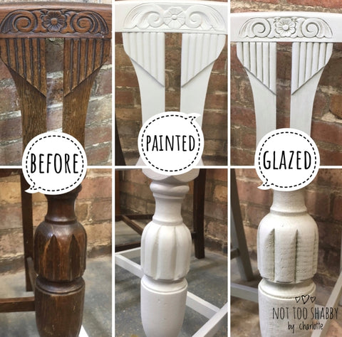 The process of applying glaze to furniture
