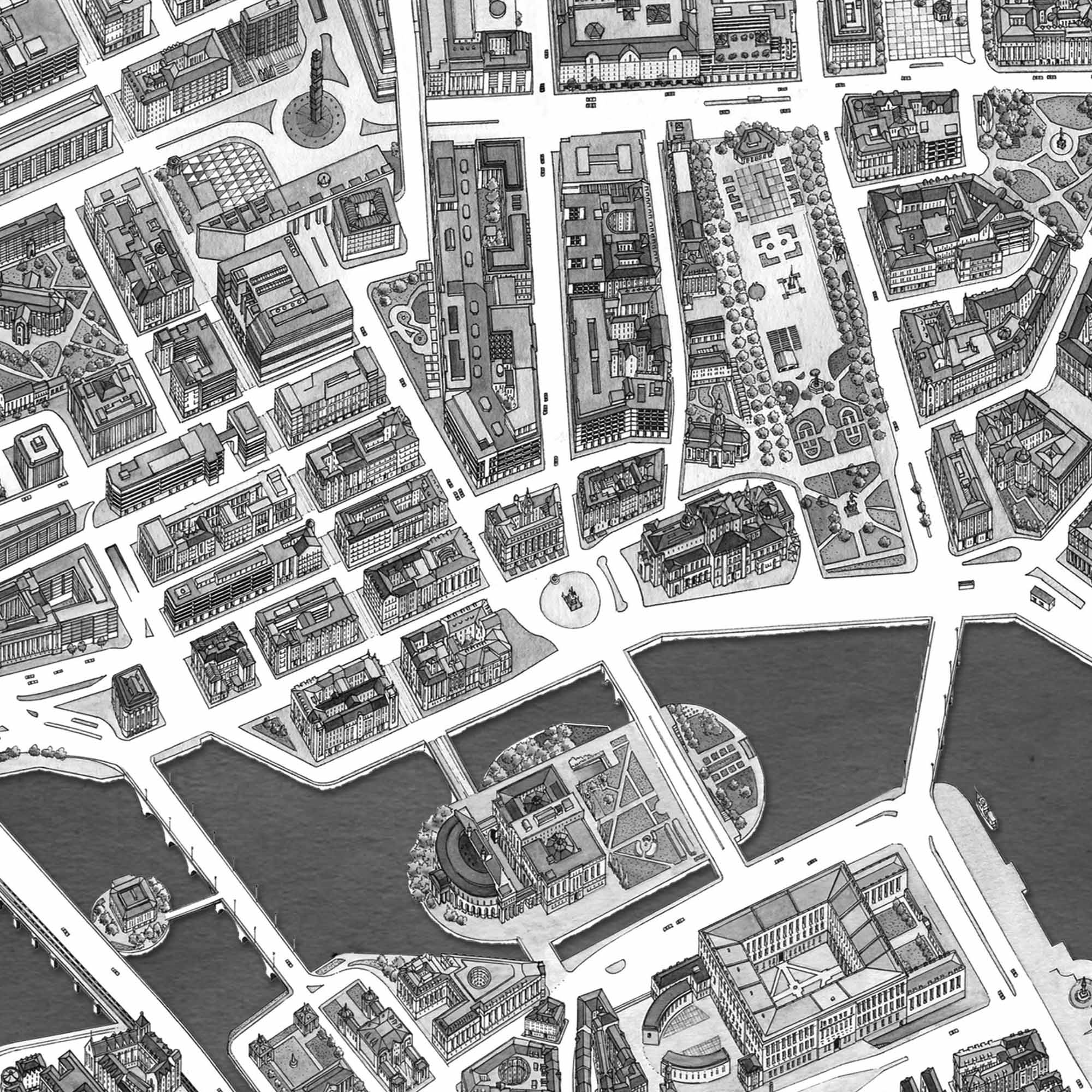Stockholm, Sweden – Black & White Print – Wooden Framed Poster