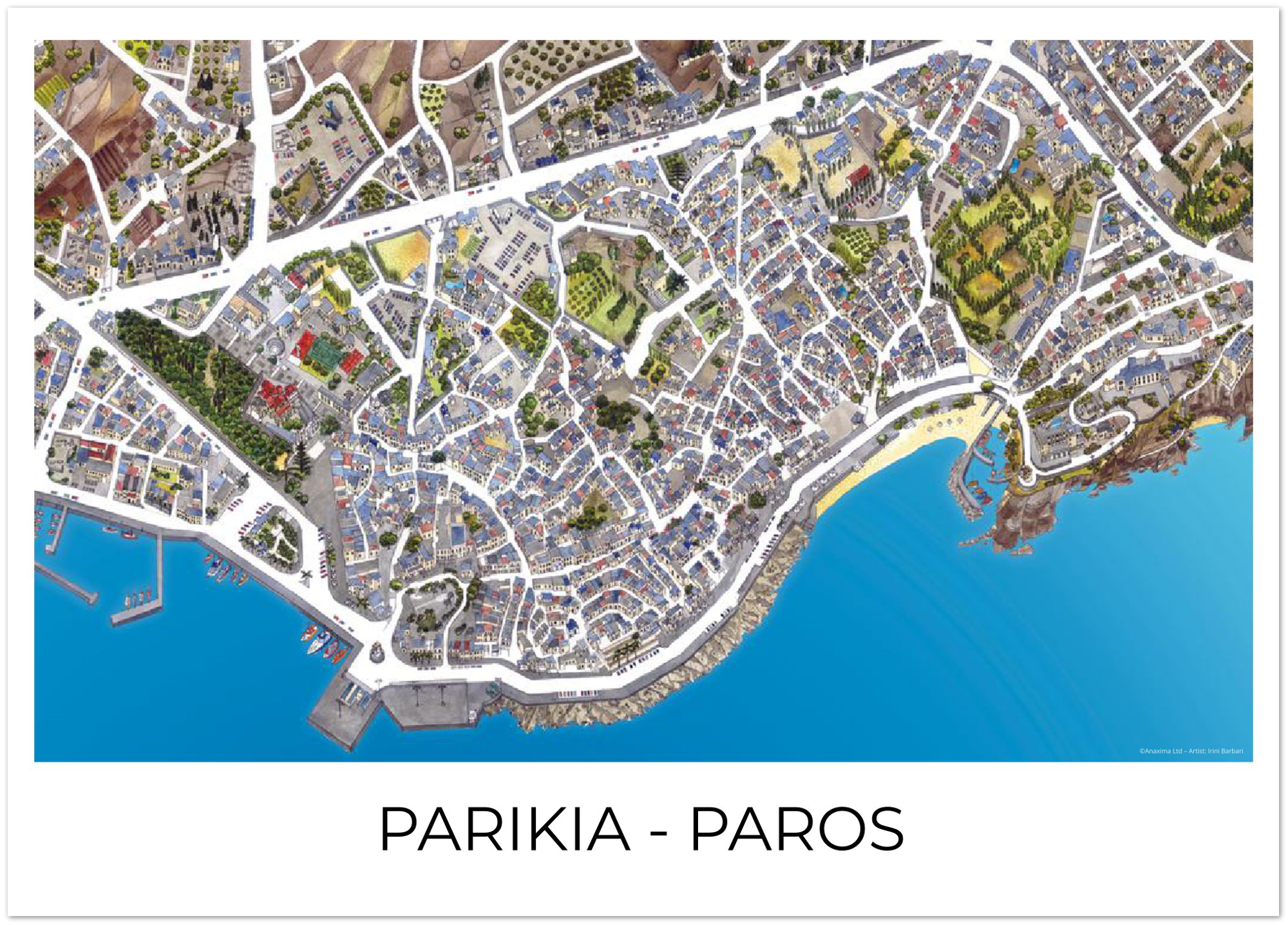 Parikia, Paros, Greece - Color - Premium Semi-Glossy Paper Poster