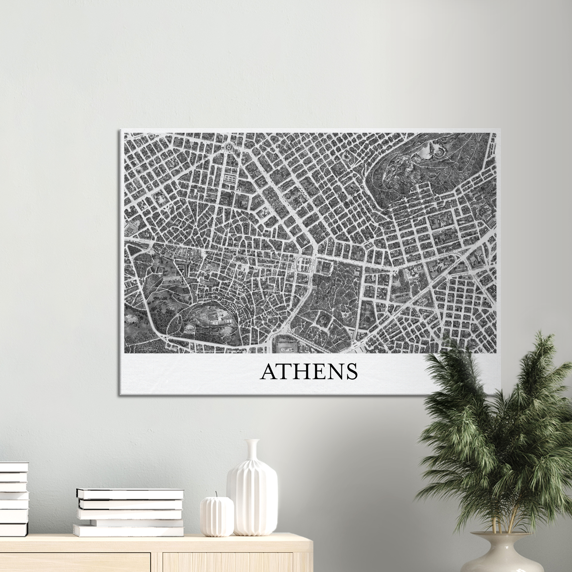 Athens, Greece - Black & White Canvas Print - Framed