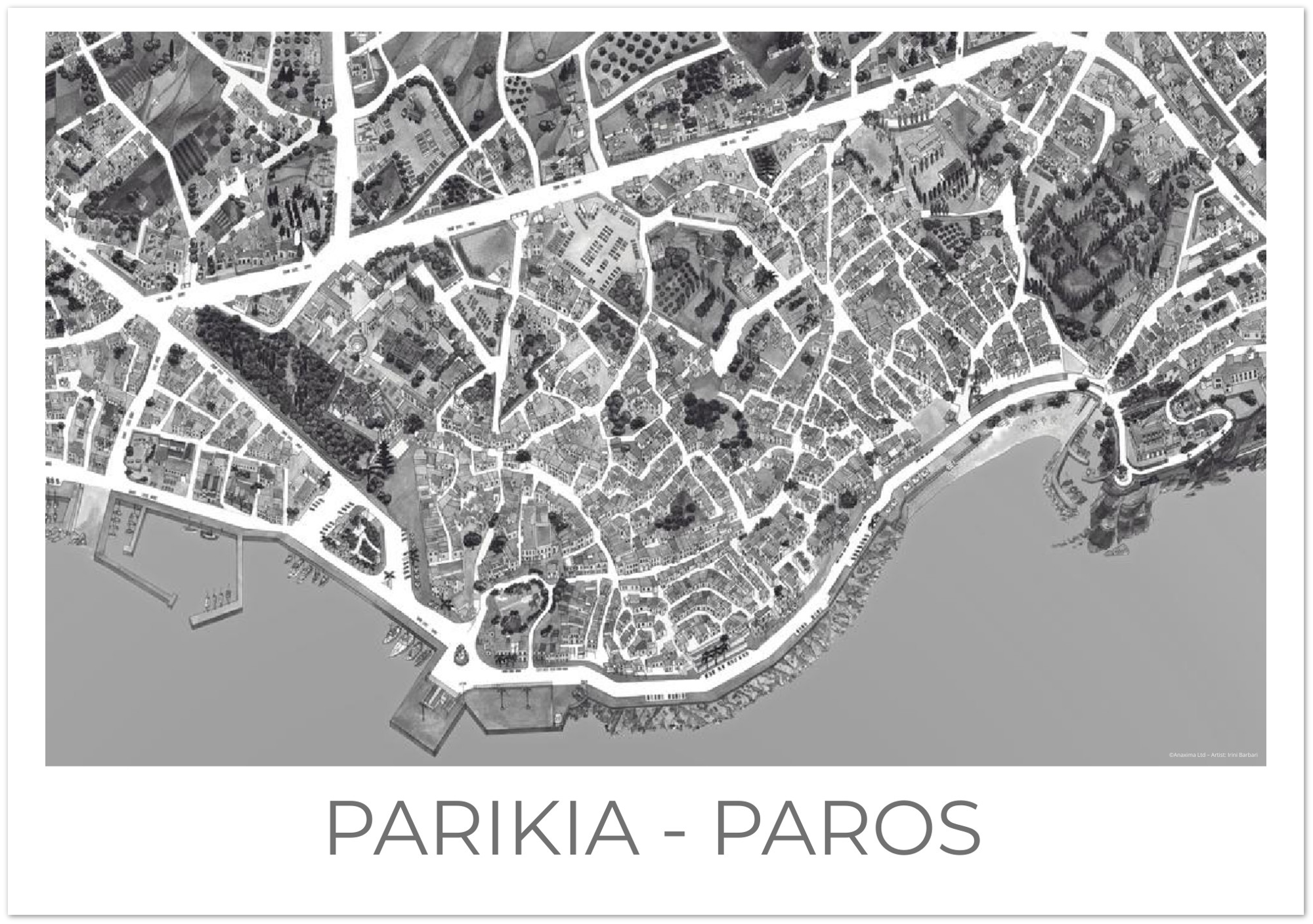 Parikia, Paros, Greece - Black & White - Premium Semi-Glossy Paper Poster