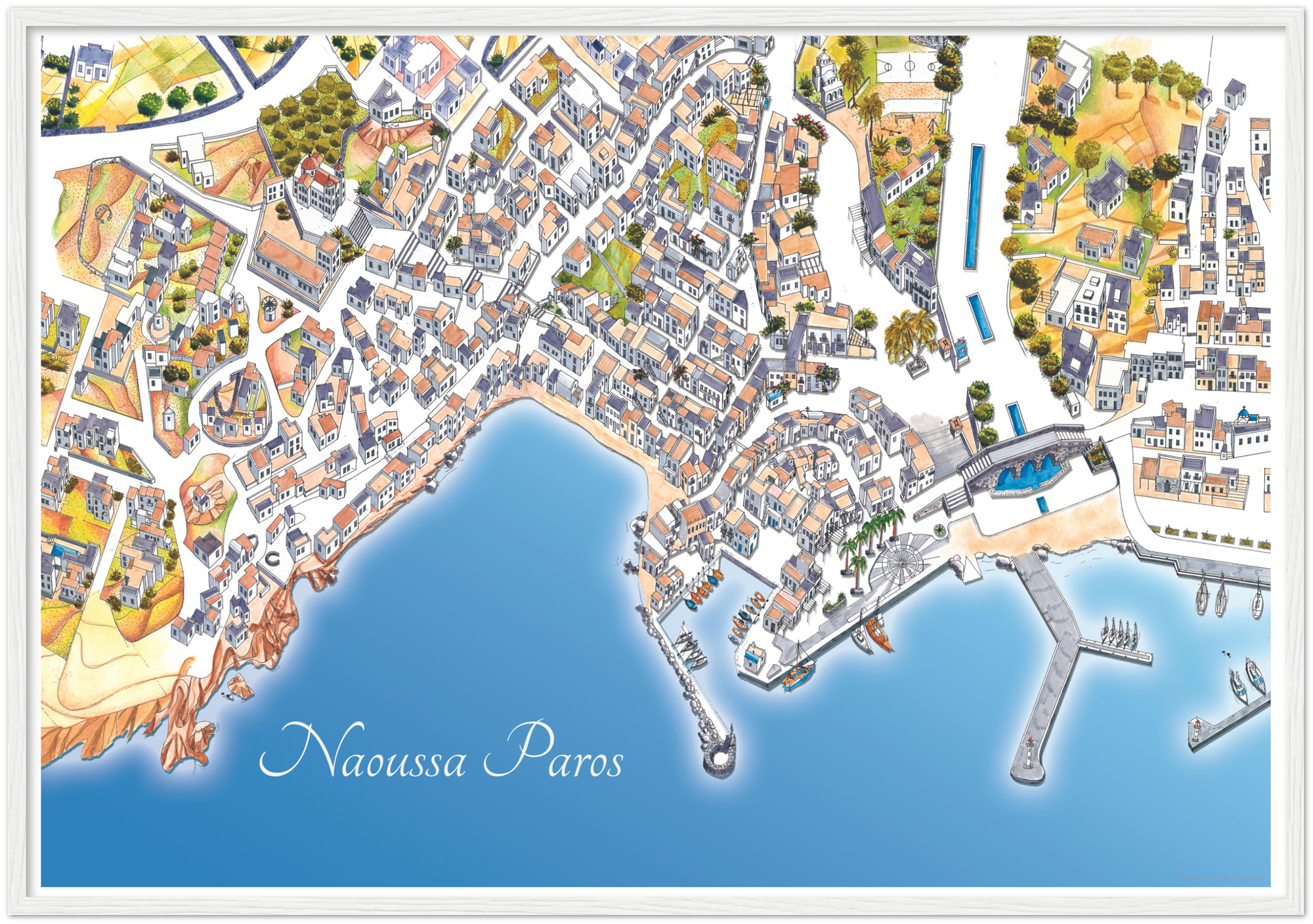 Naoussa Paros  – Color Print – Wooden Framed Poster